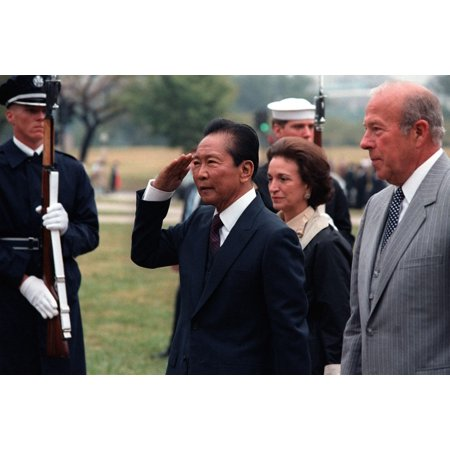 Philippine President Ferdinand E Marcos Is Given A Full Honor Departure Ceremony After A State Visit To The US Secretary Of State George Shultz Is At Far Right Sept 20 1982