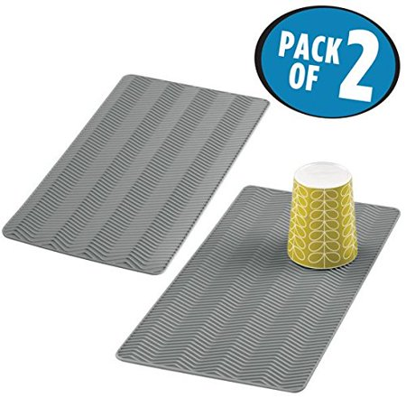 Mdesign Chevron Silicone Drying Mat For Kitchen Counter Sinks Pack Of 2 Small