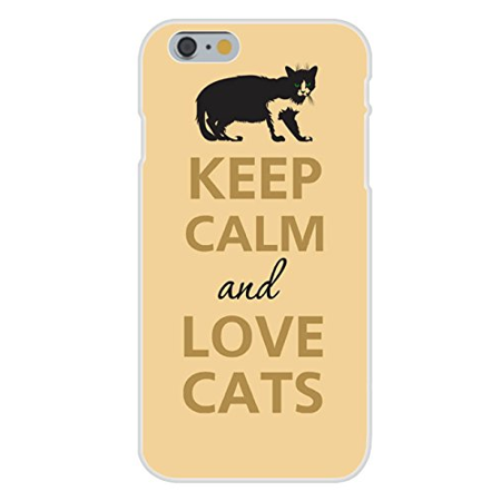 Crouching Cat (Apple iPhone 6+ (Plus) Custom Case White Plastic Snap On - Keep Calm and Love Cats Dark Silhouette Crouching)