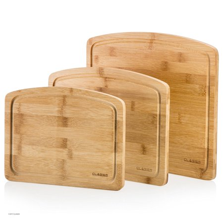 Genuine Bamboo Cutting Chopping Board 3 Piece Set | Anti-Bacterial & Anti-Microbial Wooden Board WithJuice Groove | For Dicing, Slicing & Serving Cheese, Meat, Veggies, Fruit, Bread & More ()