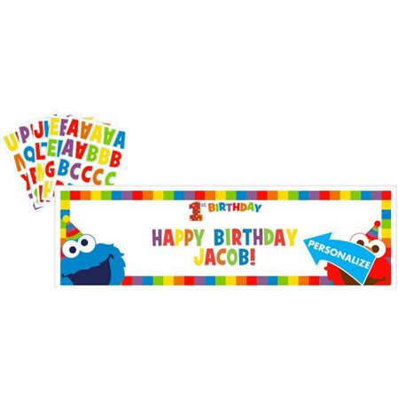 Sesame Street 1st Birthday 'Elmo Turns One' Giant Customizable Banner (1ct) (Customizable Banner)