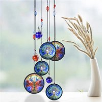 Wind Chimes Tree of Life Pattern by Wood Metal Crystal Material Outdoor Garden Yard Pathway Hanging Decoration