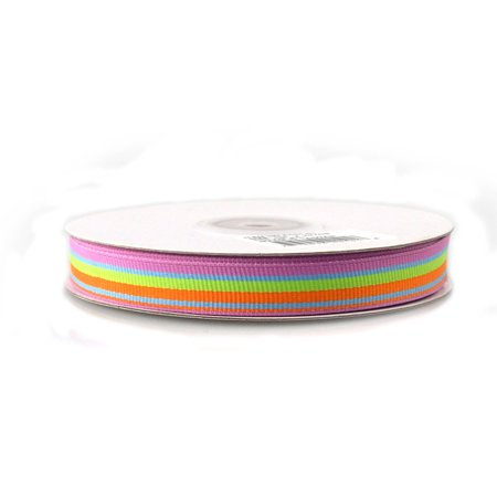 Rainbow Striped Grosgrain Ribbon, 5/8-inch, 25-yard, Blue/Green/Orange/Azalea (Striped Ribbon)
