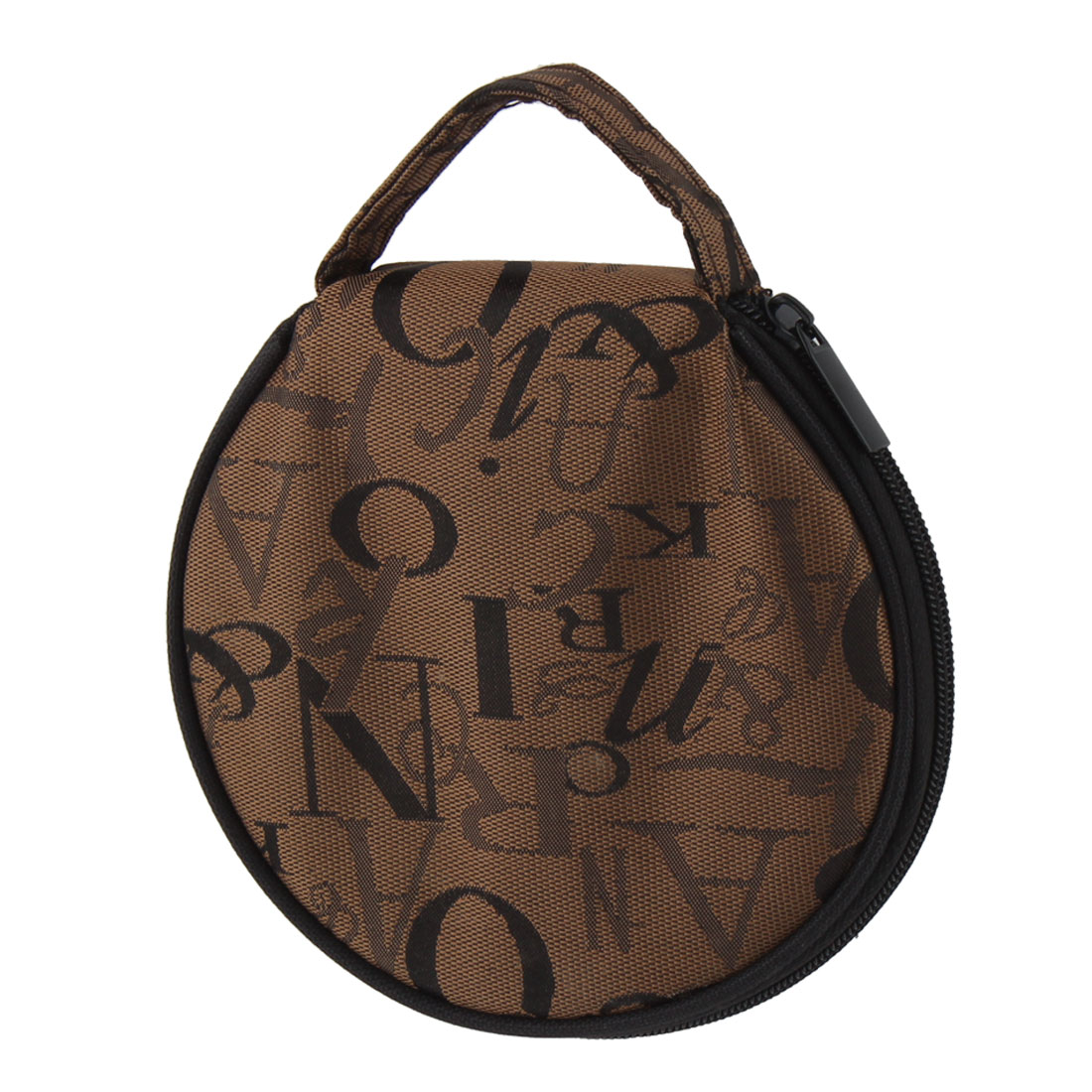 Letter Pattern Zipper Closure 20 Capacity CD Storage Holder Pouch Bag Brown