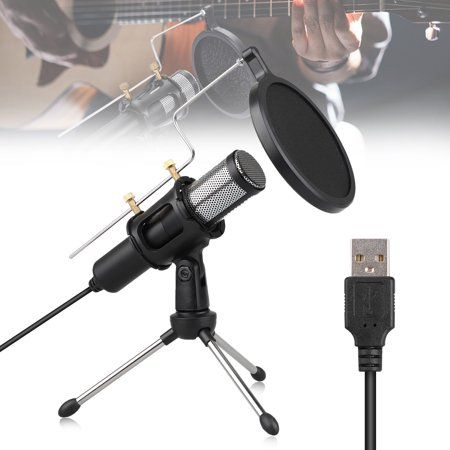 PC Microphone USB Computer Condenser Studio Mic Plug & Play with Tripod Stand & Anti-Spray Cover for Chatting Skype Youtube Recording Gaming Podcasting