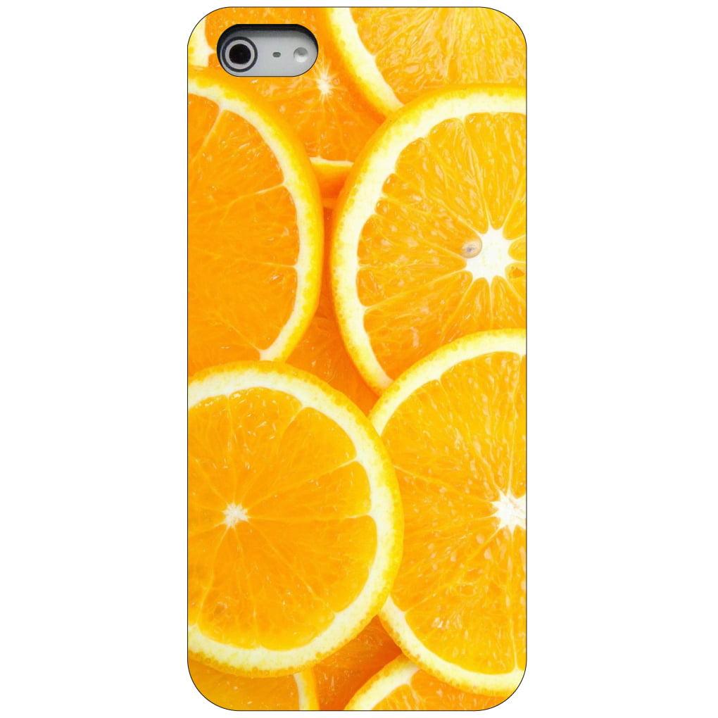 CUSTOM Black Hard Plastic Snap-On Case for Apple iPhone 5 / 5S / SE - Orange Slices