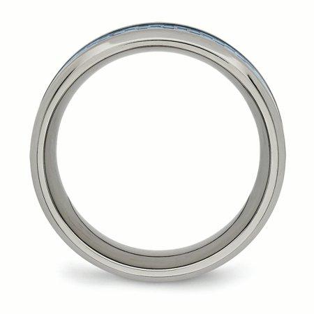 Titanium Polished Blue Carbon Fiber Inlay Ring Size 7.5 - image 1 of 3