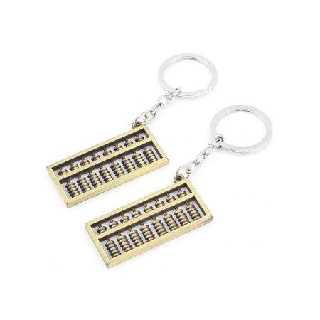 Abacus Pendant 28mm Dia Silver Tone Metal Handbag Split Rings Keyring 2 Pieces