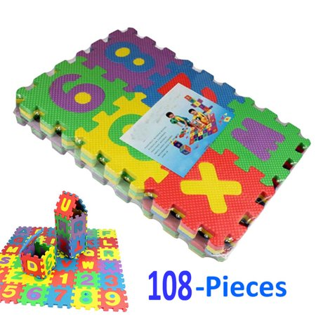 108 pieces multicolored alphabet numbers interlocking for Baby care play mat letters numbers grey large