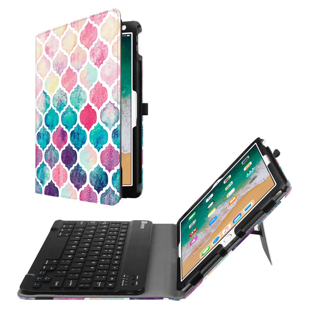 Fintie iPad Pro 10.5 Case with Keyboard - PU Leather Stand Cover with Removable Bluetooth Keyboard, Moroccan Love
