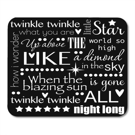 KDAGR Baby Twinkle Little Star Nursery Rhyme Word Black and White Child Clipart Mousepad Mouse Pad Mouse Mat 9x10 inch