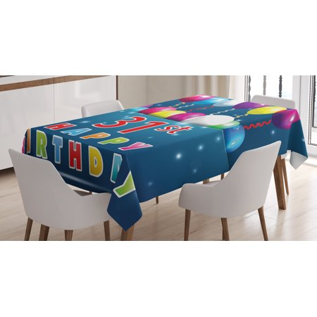 31st Birthday Decorations Tablecloth Joyful Occasion Party Theme With Colorful Balloons Flying 31 Year