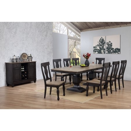 Nysha 10 Piece Dining Room Set, Charcoal & Oak Wood, Transitional (Extendable Table, 8 Scooped Fiddleback Chairs & Buffet