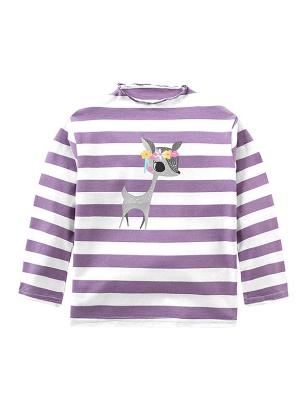 Babula Bbay Girls Long Sleeve Striped Elk Print Half-High Collar Top 2-8T