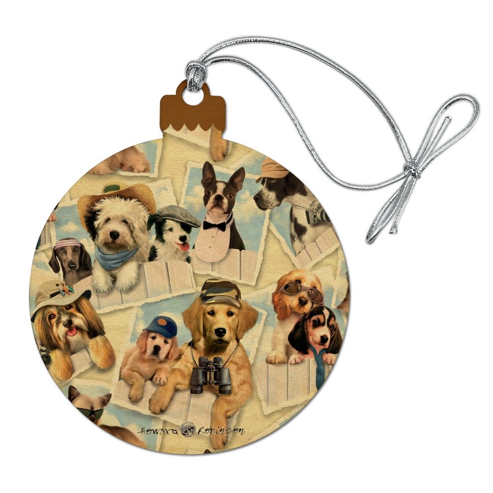 Cool Dogs on Framed on Fence Pattern Wood Christmas Tree ...