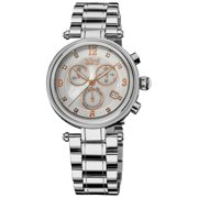 Burgi  Women's Silvertone Mother of Pearl Dial Chronograph Stainless Steel Bracelet Watch