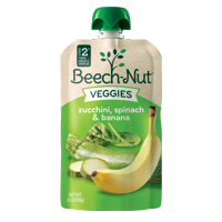 (12 Pouches) Beech-Nut Veggies On-The-Go Baby Food Pouch, Stage 2, Zucchini, Spinach & Banana Blend, 3.5 oz