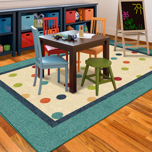 Orian Polka Teal Fun Kids' Area Rug