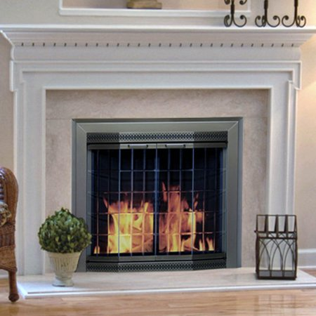 This button opens a dialog that displays additional images for this product  with the option to zoom in or out. - Pleasant Hearth Grandior Bay Fireplace Screen And Bi-Fold Track