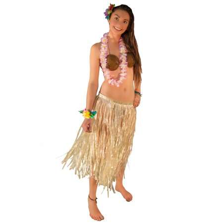 e1bbe40e98aee Hawaiian Luau Party Grass Skirt Coconut Bra 5pc Hula Girl Costume One Size  - Walmart.com
