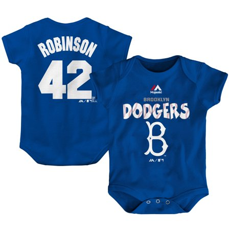 Jackie Robinson Brooklyn Dodgers Majestic Newborn & Infant Stitched Player Name & Number Bodysuit - Royal