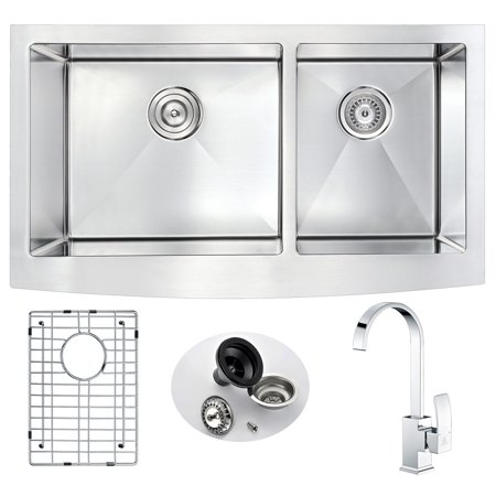 Anzzi KAZ3320-035 33 in. Elysian Farmhouse Stainless Steel Double Bowl Kitchen Sink & Faucet Set with Opus Faucet in Polished Chrome Farm Sink Faucet