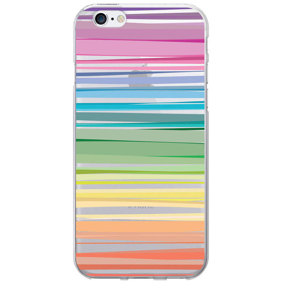 OTM Classic Prints Clear Phone Case for Apple iPhone 6, Pastel Stripes