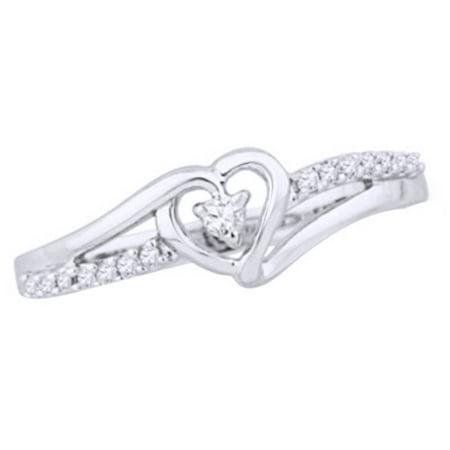 - White Natural Diamond Heart Split Shank Promise Ring In 14k White Gold Over Sterling Silver (0.1 Cttw)