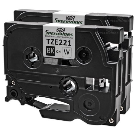 Speedy Inks Compatible Label Tape Cartridge Replacement for Brother TZe221|0.35 in x 26.2 ft (9 mm x 8 m) (Black on Whi (Ink Cartridge Refill Kit Black)