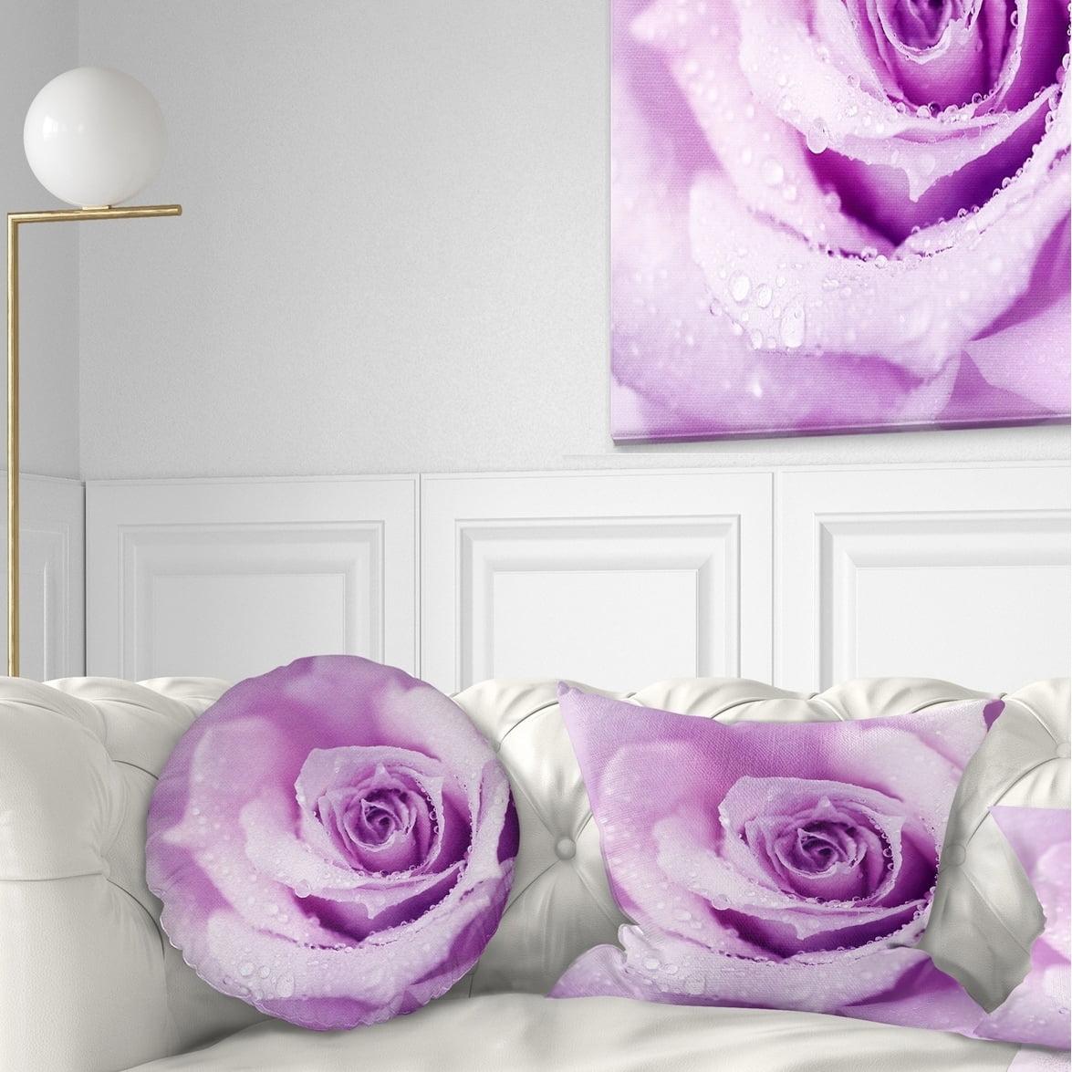 DESIGN ART Designart 'Purple Wet Rose Background' Flowers Throw Pillowwork