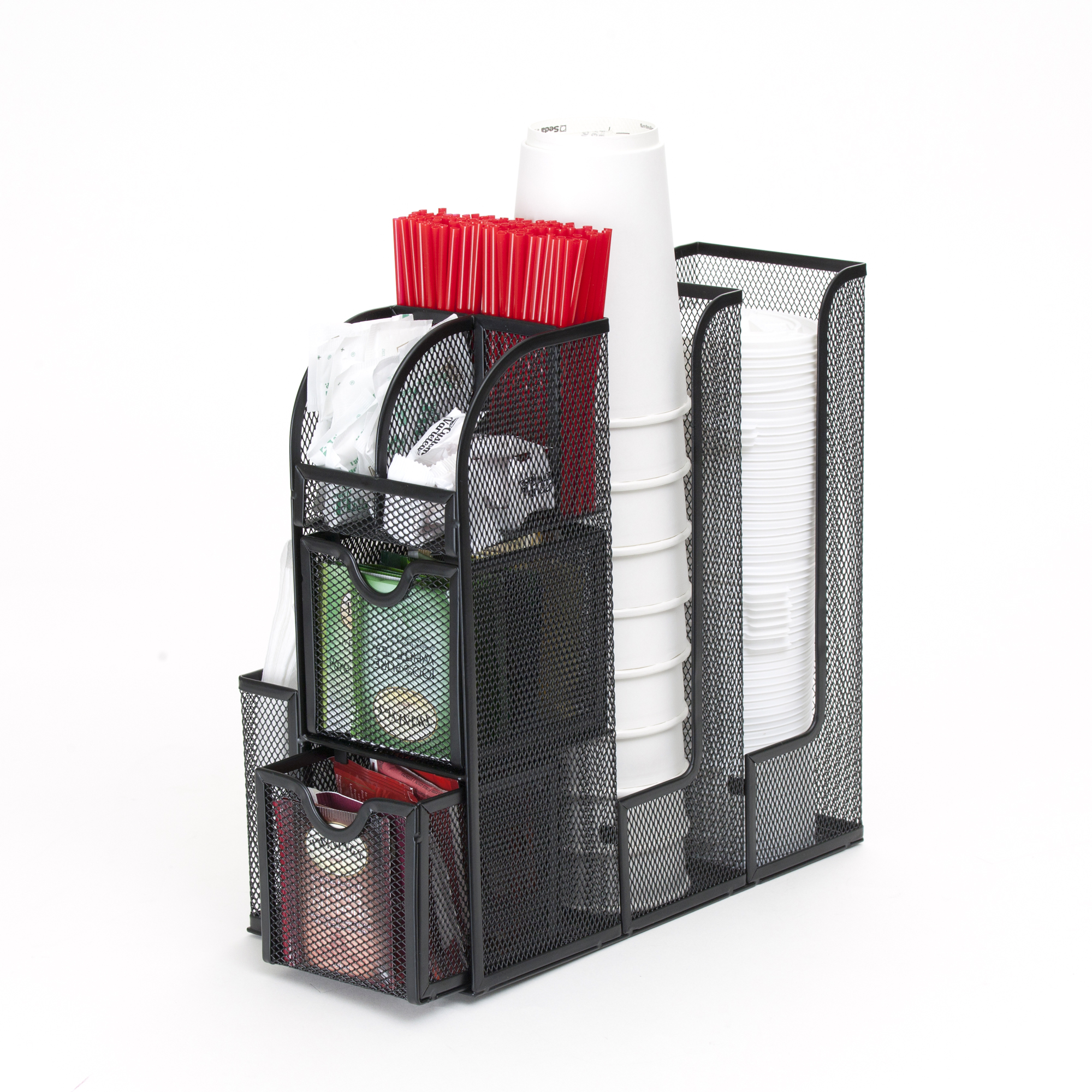 Mind Reader Coffee Condiment and Accessories Caddy Organizer, For Coffee Cups, Stirrers, Snacks, Sugars, etc. Black Mesh