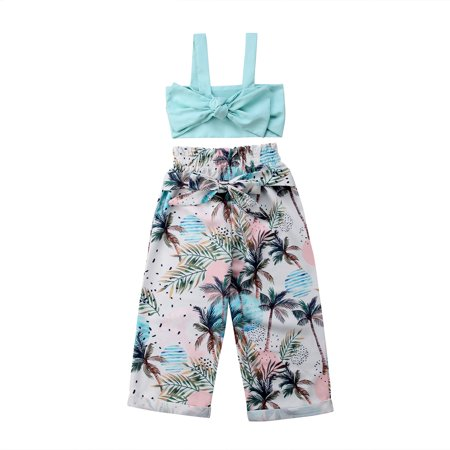 Toddler Kids Girl Summer Straps Bowknot Tube Tops + Coconut Long Pants Outfit Set ()