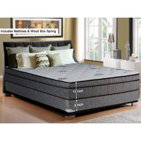 """WAYTON, 13-inch Fully Assembled Soft Foam encased, hybrid, Eurotop, Pillowtop, Memory Foam Gel Innerspring Mattress and Wood Traditional Box Spring/Foundation Set, Good For Back, 48"""" x 74"""""""