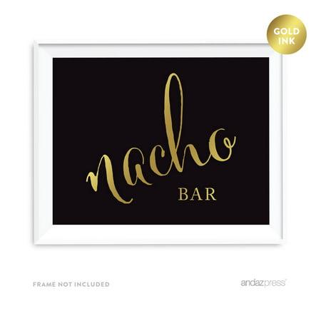 Nacho Bar Black and Metallic Gold Wedding Signs - Nacho Bar Toppings