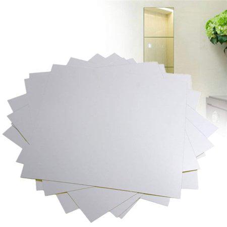 Akozon 9pcs Flexible Wll Mirror Sheets Self Adhesive Mirror Tiles 3d