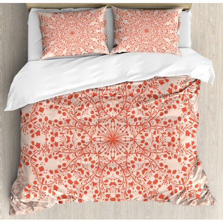Red Mandala King Size Duvet Cover Set  Rural Meadow Wild Flowers Twigs And Blooms Round Bouquet Corsage Design  Decorative 3 Piece Bedding Set With 2 Pillow Shams  Red And Peach  By Ambesonne