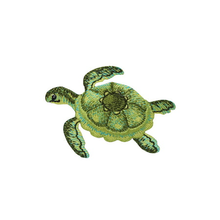Sea Turtle - Green - Tropical - Marine Reptile - Ocean Animals - Iron on Applique - Embroidered Patch ()