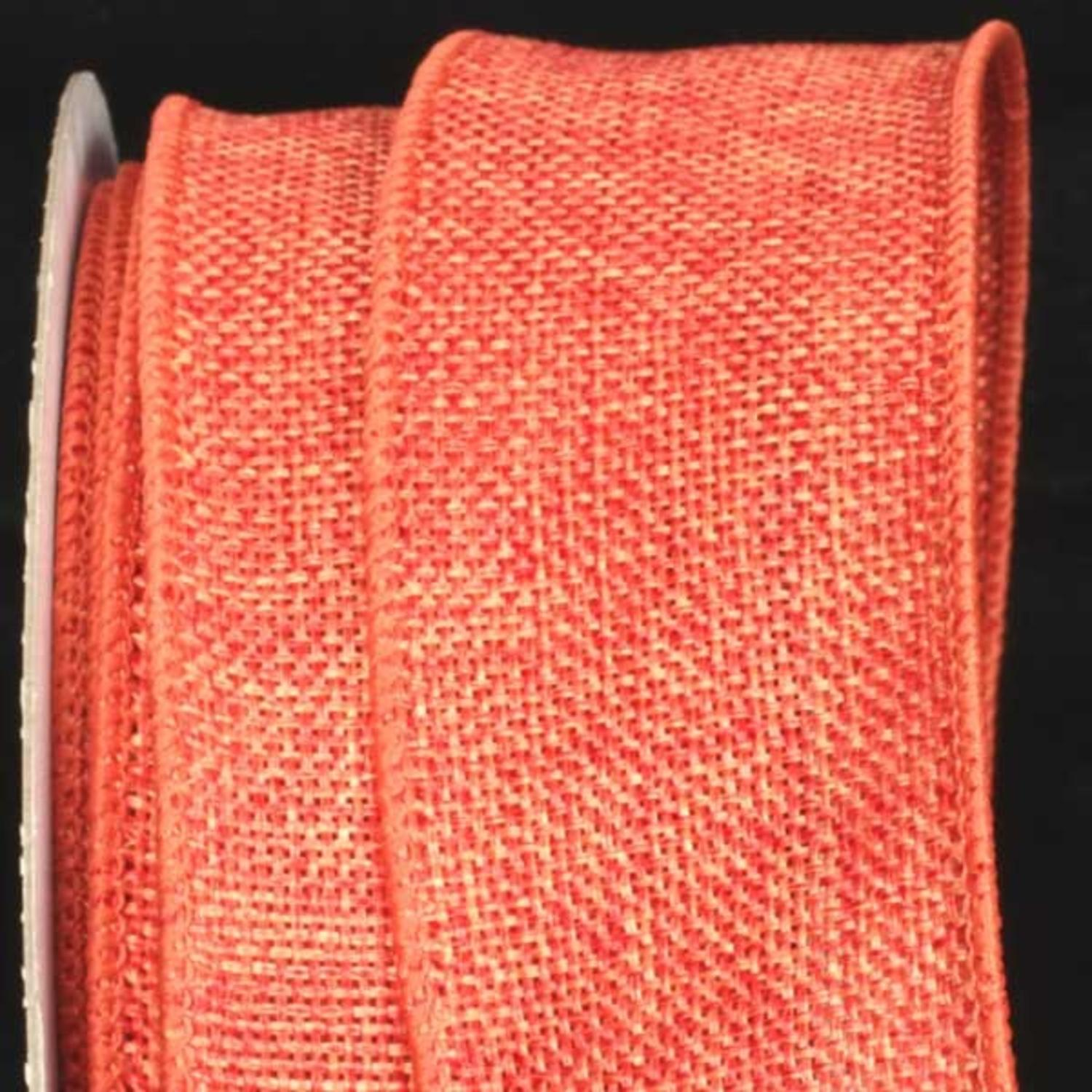 "Orange Wired Fine Burlap Craft Ribbon 2"" x 40 Yards"