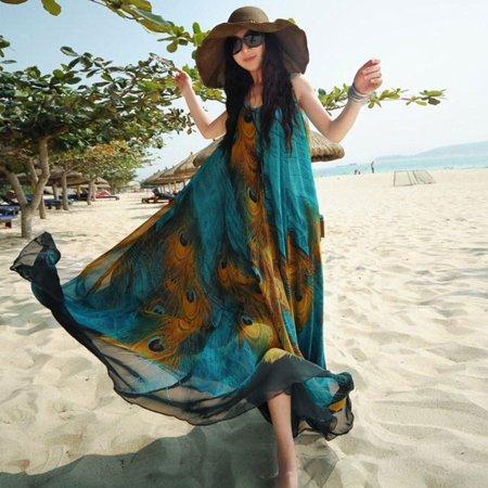 Chiffon Tunic Dress - Women Maxi Sleeveless Chiffon Dress Feather Print Sash Plus Size Casual Loose Swing Tunic Tank Beach Dress