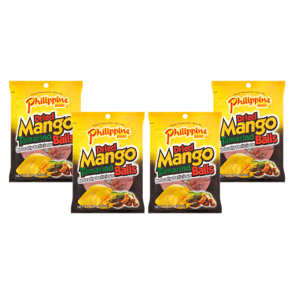 (4 Pack) Philippine Brand Dried Mango Tamarind Balls, 3.5 oz