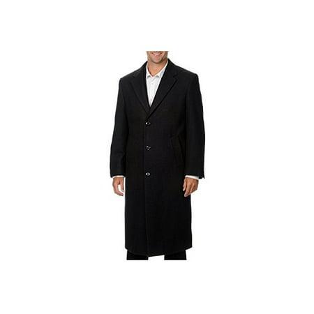 Hathaway Mens Size 40R Platinum Mens Wool & Cashmere Italian Top Coat, Charcoal