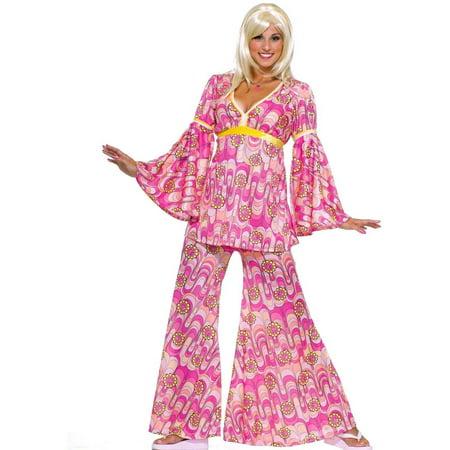 Flower Power Hippie Women's Adult Halloween Costume, 1 Size (Floor 13 100 Floors Halloween)