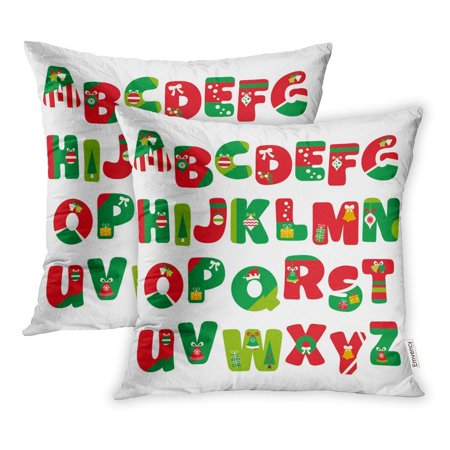 ARHOME Alphabet in Christmas Red Green Uppercase Letters to Z Pillowcase Cushion Cover 20x20 inch, Set of 2 ()