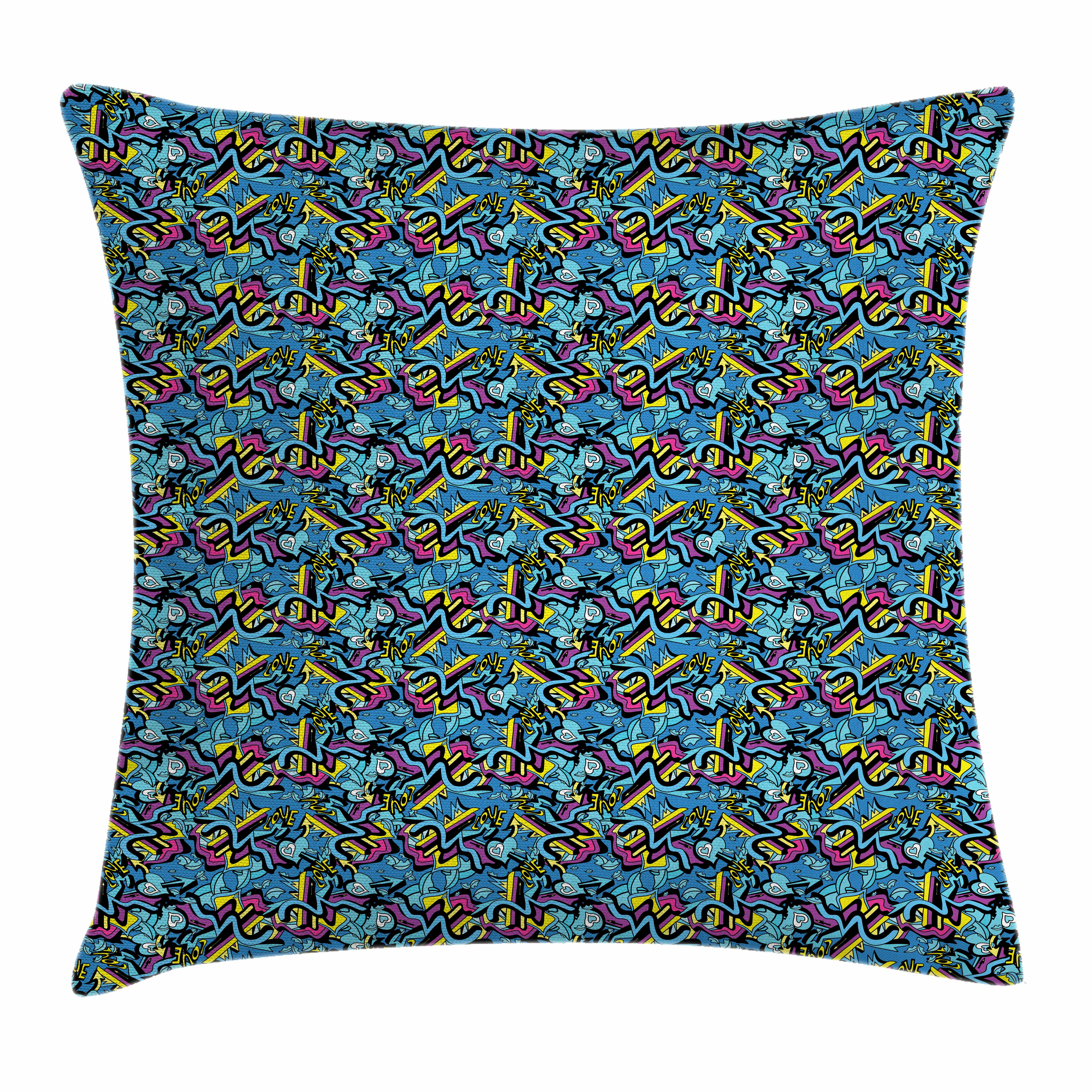 Psychedelic Throw Pillow Cushion Cover, Graffiti Art Lines Lips and Hearts with Arrows Love Inscription Teen Romance, Decorative Square Accent Pillow Case, 16 X 16 Inches, Multicolor, by Ambesonne
