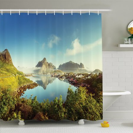 Ambesonne Farm House Reine Creek In Norway In A Sunny Fall Day Tranquil Peaceful Vacation Image Shower Curtain Set