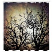 Horror Shower Curtain, Scary Twilight Scene with Grunge Tree Branch Silhouette over Dirty Night Sky Image, Fabric Bathroom Set with Hooks, 69W X 70L Inches, Sepia Black, by Ambesonne