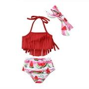 Infant Baby Girl Swimsuit 2 Piece Tassels Watermelon Bathing Suit Baby Girl Bikini Swimwear Beachwear