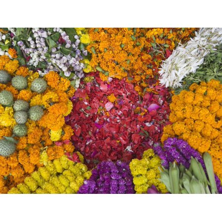 Selling Flowers for Diwali, Festival of Lights, Varanasi, India Print Wall Art By Keren