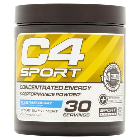 C4 Sport Blue Raspberry concentré d'énergie en poudre et performance avant la séance d'entraînement en poudre, 10,05 oz