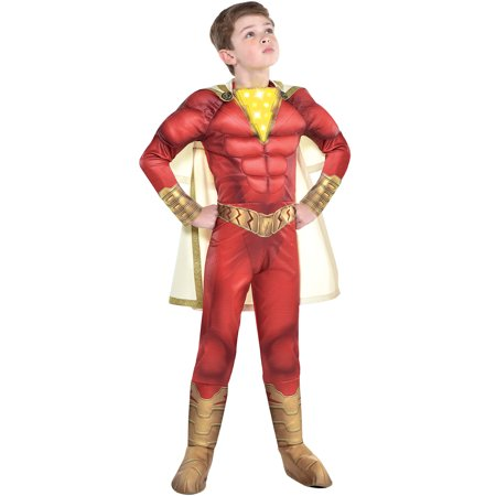 Shazam Costume Kids (Light-Up Shazam Muscle Halloween Costume for Kids, Small, Includes)